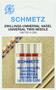 Иглы SCHMETZ универсальные двойные №70-90, 3 шт.